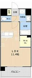 LUMIUS南熊本 2階ワンルームの間取り