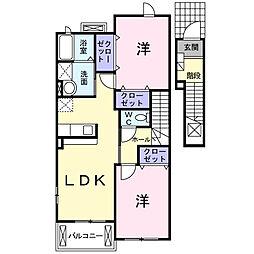 サニー スクェアB[2階]の間取り