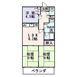 大阪府東大阪市東鴻池町5丁目の賃貸マンションの間取り