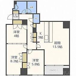 北海道札幌市中央区南一条西21丁目の賃貸マンションの間取り