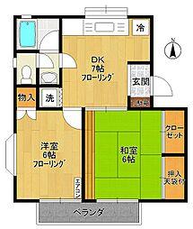 メゾンプラティークB棟[2階]の間取り