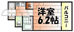 ライオンズマンション三萩野駅前[603号室]の間取り