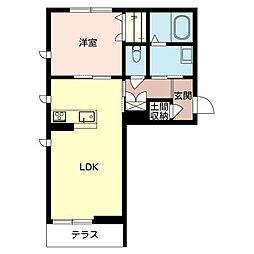 シャーメゾンべレオ平田1LDK[1階]の間取り