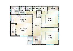 新・笛ヶ滝ビル 1階2DKの間取り