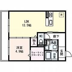 仮称)城東区長井ハイツ 2階1LDKの間取り