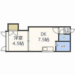 北海道札幌市豊平区平岸四条2丁目の賃貸アパートの間取り