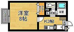 奈良県奈良市南紀寺町1丁目の賃貸アパートの間取り