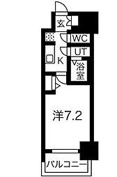 名古屋市営東山線 新栄町駅 徒歩9分の賃貸マンション 4階ワンルームの間取り