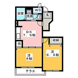 カーサアルジェント B棟[1階]の間取り