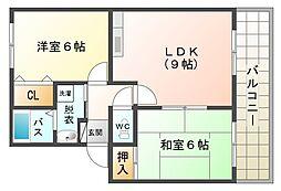 大阪府大阪市平野区喜連7丁目の賃貸アパートの間取り