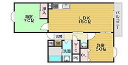 京阪本線 土居駅 徒歩5分の賃貸マンション 2階2LDKの間取り