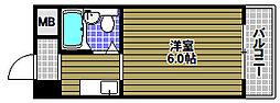 サンシャインハイツII 2階1Kの間取り