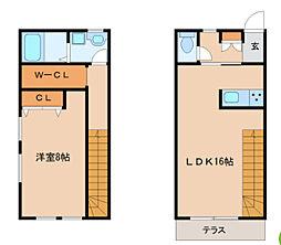 西鉄天神大牟田線 宮の陣駅 徒歩11分の賃貸テラスハウス 1階1LDKの間取り