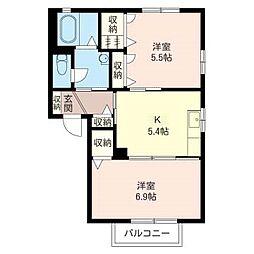 サニーハウス寿B[2階]の間取り
