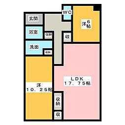 アーベインハイツ瓢箪山[2階]の間取り