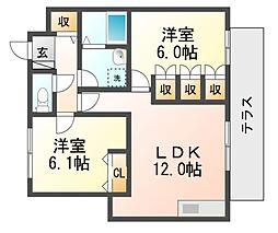レーブ武庫之荘[2階]の間取り