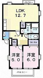 岡山県倉敷市吉岡の賃貸アパートの間取り