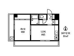 アルカディア駒沢[3階]の間取り