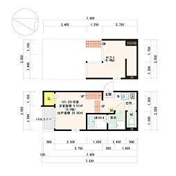 西鉄貝塚線 名島駅 徒歩7分の賃貸アパート 1階1Kの間取り