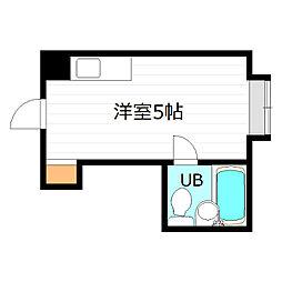 Osaka Metro長堀鶴見緑地線 京橋駅 徒歩8分の賃貸マンション 2階ワンルームの間取り