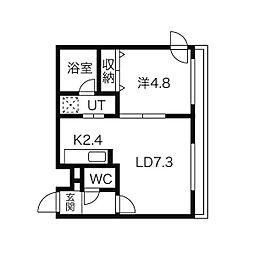 札幌市営東西線 円山公園駅 徒歩6分の賃貸マンション 1階1LDKの間取り