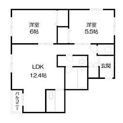 北海道札幌市豊平区平岸二条2丁目の賃貸マンションの間取り