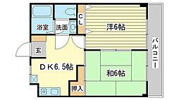 兵庫県姫路市辻井5丁目の賃貸マンションの間取り
