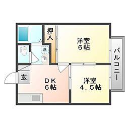 ダックハウス中島B[2階]の間取り