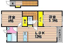 岡山県倉敷市玉島長尾の賃貸アパートの間取り
