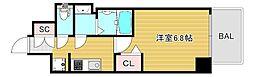 プレサンス大阪ドームシティクロスティ 6階1Kの間取り