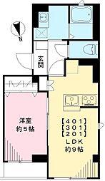 東武東上線 下板橋駅 徒歩7分の賃貸マンション 2階1LDKの間取り