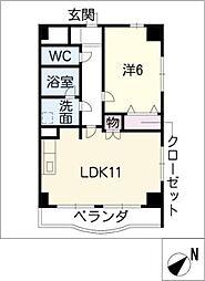 レジーナ鳥居松[3階]の間取り