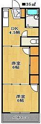 コーポフクヤマ[1階]の間取り