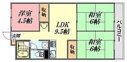 広島県広島市中区富士見町の賃貸マンションの間取り