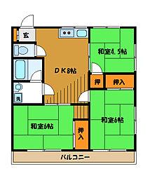 東京都府中市栄町1丁目の賃貸マンションの間取り