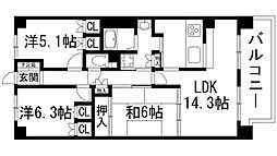ウィングコート伊丹大野[5階]の間取り
