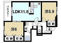 奈良県天理市田部町の賃貸アパートの間取り