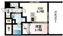 Osaka Metro御堂筋線 江坂駅 徒歩4分の賃貸マンション 8階1LDKの間取り