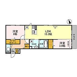 仮称D-room北区百舌鳥西之町 1階2LDKの間取り