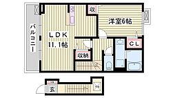 JR東海道・山陽本線 朝霧駅 徒歩16分の賃貸アパート 2階1LDKの間取り