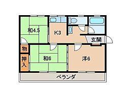 西口マンション[3階]の間取り