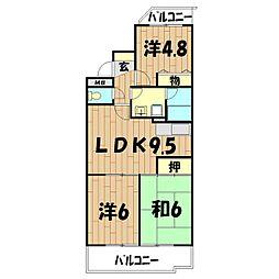 ロイヤル二俣川B棟[102号室]の間取り