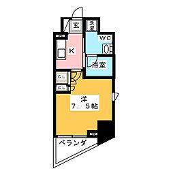 プラウドフラット浅草橋II 9階1Kの間取り