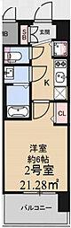 アドバンス大阪グロウスII 12階1Kの間取り