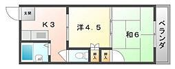YKマンション[3階]の間取り