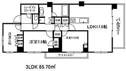 兵庫県神戸市東灘区本山南町3丁目の賃貸マンションの間取り