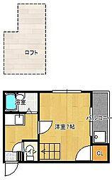 プチハイム六本松[101号室]の間取り