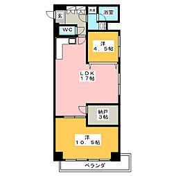 宝笠寺ハイツC棟1201号室[12階]の間取り