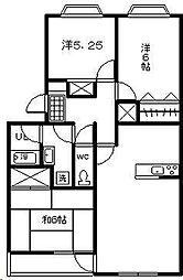 翠ヶ丘五番館[202号室]の間取り