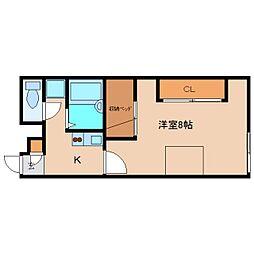 近鉄大阪線 五位堂駅 徒歩12分の賃貸アパート 2階1Kの間取り